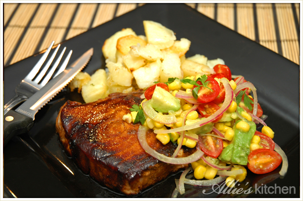 Marlin with corn salad and crispy potato gems allie 39 s for Marlin fish recipes